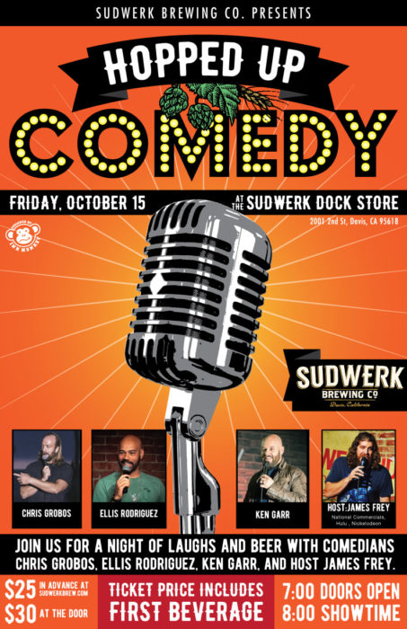 poster for sudwerk comedy show featuring James Frey, October 15th, 2021.