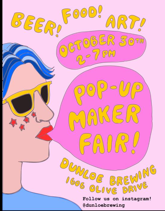 poster for maker fair held by dunloe brewing in davis, ca