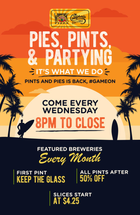poster for woodstock's pies, pints, and partying
