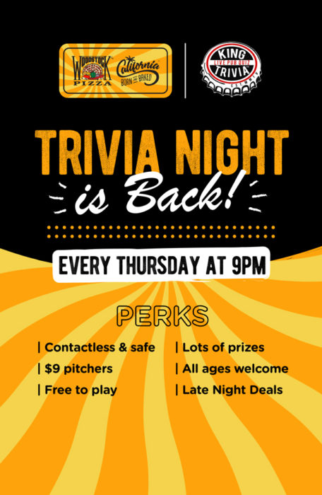 poster for Woodstock Pizza trivia nights on thursdays at 9 pm
