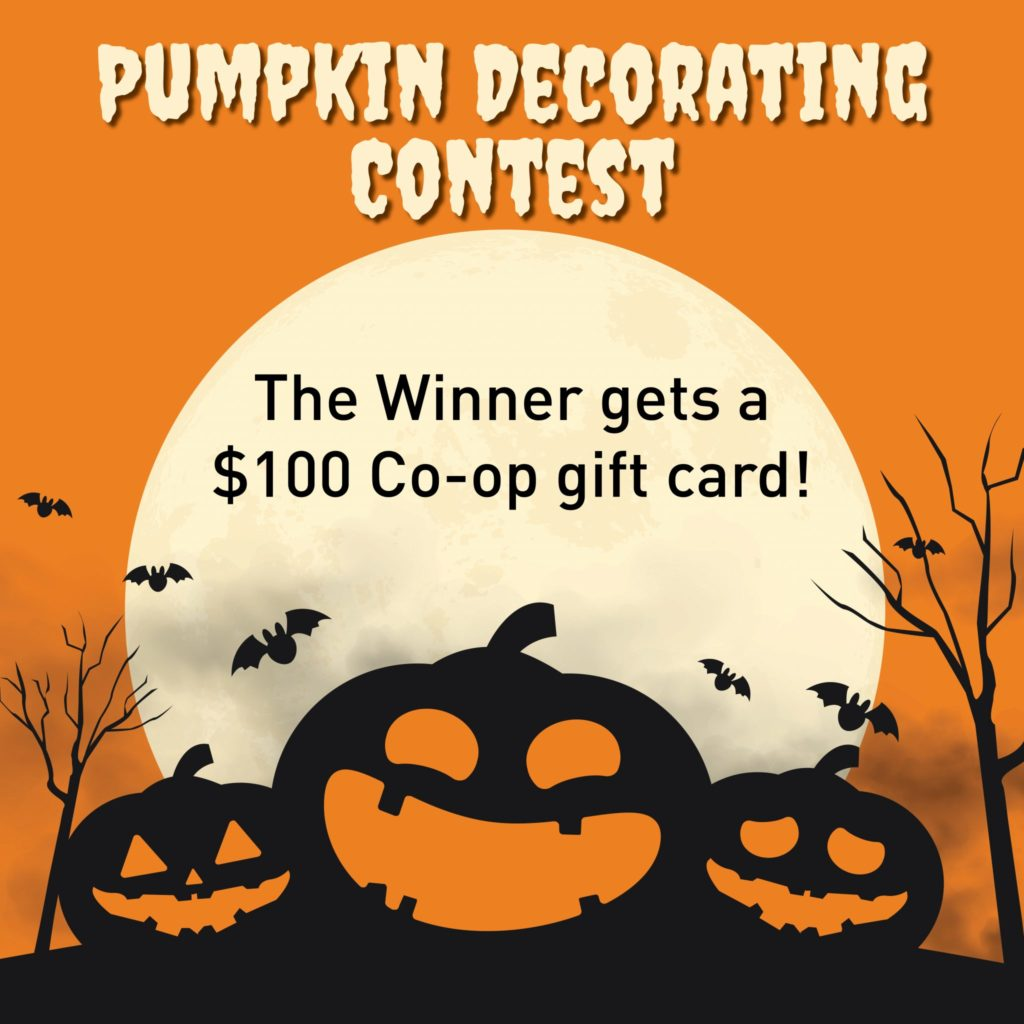 poster for the pumpkin decorating contests held by the Davis Food Co-op.